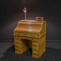 Small Oak Roll Top Desk (2 of 12)