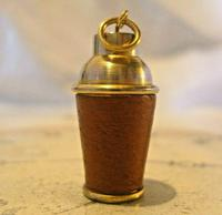 Vintage Pocket Watch Chain Fob 1960s Brass & Leather Gambling Fob With Dice (9 of 10)