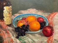 Exceptional Original Vintage Still Life of Fruit & Wine French Oil Painting (5 of 12)