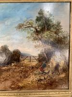 Antique Victorian landscape oil painting entitled Lunch Time by PG Hewett (7 of 11)