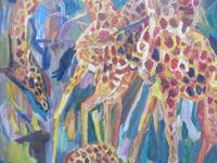 Large oil on board Giraffes in the park listed artist Henry Sanders (7 of 11)