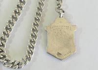 Single Silver Pocket Watch Chain & GWR Fob (3 of 3)