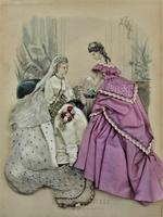 Antique Victorian 3-D fashion picture, textile and print, original frame, 1872 (4 of 10)