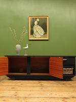 Vintage Mid Century Black Painted Sideboard, TV Cabinet with Basket, Gothic (2 of 14)