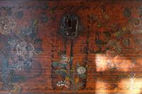 19th century painted pine coffer with floral artwork to the front (19 of 19)