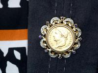 0.16ct Sapphire and 0.40ct Diamond, 18ct Yellow Gold and 22ct Gold Coin Pendant / Brooch - Antique French c.1890 (8 of 9)
