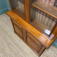Quality Victorian Walnut Antique Glazed Bookcase on Cupboard (5 of 6)
