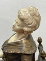 Important Art Nouveau Bronze Marble Seated Lady Sculpture By Xavier Raphanel (24 of 39)