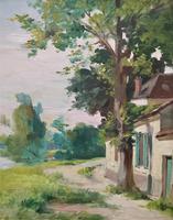 Original 1902 Antique French Riverscape Landscape Oil on Canvas Painting (9 of 13)