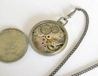 1930s Stainless Steel Doxa Pocket Watch & Chain (5 of 5)
