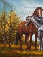 Original Signed 20th Century Vintage Horse & Foal Equestrian Oil on Canvas Painting (6 of 10)