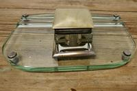 Art Deco Glass and Brass Desk Inkwell with Pen Rest (7 of 8)