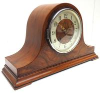 Walnut Hat-Shaped English  8-Day Mantel Clock with Silver & Walnut Dial (3 of 8)