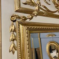 Large French Paint & Gilt Trumeau Mirror (8 of 11)