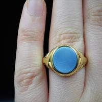 Antique Victorian Blue Sardonyx Signet 18ct 18K Yellow Gold Mourning Ring (4 of 10)