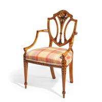 Late Victorian Sheraton Revival Painted Satinwood Armchair (3 of 5)