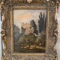 Antique Victorian landscape oil painting study of a ruin with sheep (9 of 10)