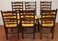 1900's Set of 6 Oak Ladder Back Dining Chairs. Rush Seats (4 of 4)