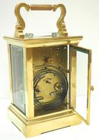 Good Antique French 8-day Carriage Clock Bevelled Case Large Dial & Carry Handle (8 of 13)