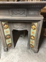 Antique Cast Iron Fireplace Grate with Mantelpiece