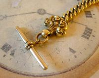 Antique Pocket Watch Chain 1870s Victorian Huge Brass Albert With T Bar & Fancy Mount (5 of 12)