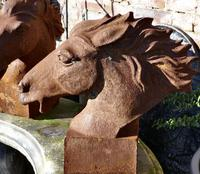 Pair of Large Outdoor Weathered Cast Iron Horse Heads (5 of 7)