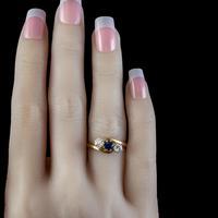 Antique Edwardian Sapphire Diamond Trilogy Twist Ring 18ct Gold Circa 1905 (3 of 8)