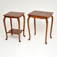 Pair of Matched Burr Walnut Edwardian Side Tables (10 of 10)