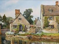 Gorgeous Early 20th Century Country River Hamlet British Landscape Watercolour Painting (6 of 12)