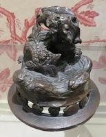 Japanese Bronze Censer & Cover with Kylin on a Rock on the Lid (10 of 10)