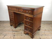 Late 20th Century Yew Wood Pedestal Kneehole Desk (10 of 14)