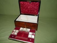Inlaid Figured Walnut Jewellery – Work Box. Original Tray. C1870 (5 of 13)