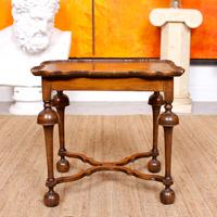 Walnut Side Table Continental Queen Anne Carved Lamp Table (8 of 12)