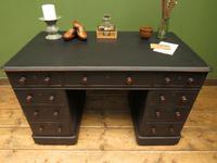 Antique Black Painted Pedestal Desk, 3 Parts, Gothic Shabby Chic (16 of 17)