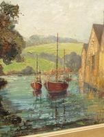 Large Framed Oil Painting of Boats at Totnes by Dorothy Bradshaw (5 of 13)