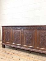 Huge 18th Century Carved Oak Coffer (4 of 9)