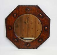 Early 20th c Oak octagonal  bevel edged overmantle mirror (4 of 8)