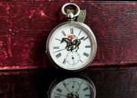 Victorian Silver Pocket Watch, Enamelled, Horse Racing (3 of 10)