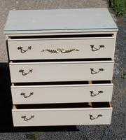 1960s White Chest of 4 Drawers with Glass Top (2 of 4)
