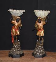 Pair of Venetian Blackamoor Figurines - Antique Clam Shell Planter Stands (2 of 11)