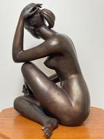 Art Deco Style Nubile African Tribal Bronze Nude Lady Statue Sculpture (20 of 28)