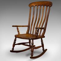 Antique Farmhouse Rocking Chair, English, Elm, Beech, Seat, Victorian c.1900 (6 of 12)