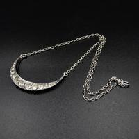 """Antique Victorian Paste Crescent Moon Sterling Silver Conversion Necklace 16"""" (7 of 9)"""