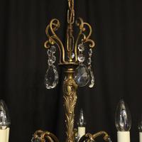 Italian Gilded Brass 5 Light Antique Chandelier (4 of 10)