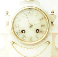 Wonderful French 8-Day Mantel Clock Alabaster Clock with Ormolu Mounts Striking A Bell (7 of 12)