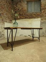 Industrial Vintage Folding Trestle Dining Table with Metal Legs & Reclaimed Top (2 of 17)