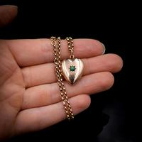 Antique Turquoise Heart 9ct 9K Gold Locket and Chain Necklace (10 of 10)