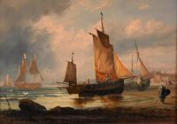 """Oil Painting Pair by George Dodgson Callow """"A Calm, Mounts Bay"""" and """"On the South Coast"""" (7 of 9)"""