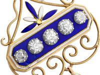 1.89ct Diamond and Enamel, 15ct Yellow Gold & Silver Pendant - Antique Victorian (8 of 12)