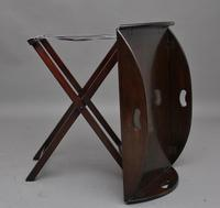 Early 20th Century mahogany folding butlers tray on stand (3 of 8)